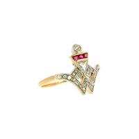 Doyle & Doyle   Ring: Art Deco Diamond and Ruby* Crest Ring