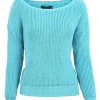 Blue Off Shoulder Long Sleeve Chunky Knit Sweater