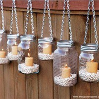 The Country Barrel — Set of 6 Regular Mouth Mason Jar Luminaries - Silver Chain