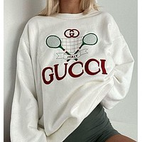 GUCCI Women's Long Sleeve Sweatshirt with Embroidered Letters