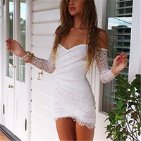 Vestidos De Festa Plus Size Women White Lace Dress Party Sexy Casual Prom Bandage Bodycon Dress Vintage Elegant Women Club Dress