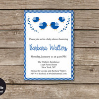 Birds Baby Shower Invitation, Personalized Printable Party Invite, Navy Blue Baby Boy, Shabby Chic Celebration Announcement, Birdie Style
