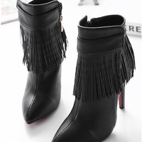 Black Tassel Pointed Toe Boots Stiletto Shoes