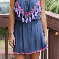 Pebble Gray Neon Tassle Dress