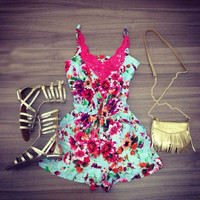 Fashion Print Stitching Casual Rompers Jumpsuit