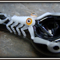 Ready To Ship - Hand Blown Glass Tobacco Pipe -  black hand pipe with glow glass - scorpion critter pipe