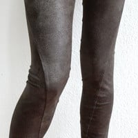 Brown faux leather leggings
