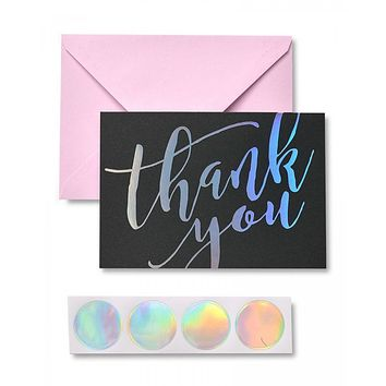 Holographic Thank you Cards & Seals - 12 Ct.