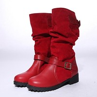 Buckle Mid Calf Boots Round Toe Shoes Woman