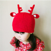 Toddler and Baby's Cute Deer Antler Knitted Cotton Beanie Hat