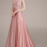 Lace Yoke Twist Front Sweep Train Ball Evening Gown