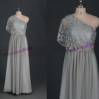 2014 long gray chiffon and lace prom dresses,chic unique one shoulder gowns for holiday party,cheap elegant bridesmaid dress hot.