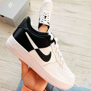 Bunchsun Nike Air Force 1 Silk Contrast Fashionable Women Men Casual Sport Running Shoes Sneakers