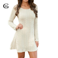 Lace Girl Autumn Winter 2016 New Plus Size Women Knitted Sweater Dress Long-sleeved O-neck Slim Solid Color Dress Vestidos