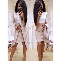 Office Lady Formal Dress 2019 New Suits Business Wear Women Long Blazer Jacket Sheath Dress 2 Piece Women's Sets