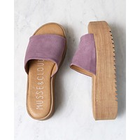 Musse & Cloud - Kendria Platform Slip On Sandal in Suede Leather Lilac Mauve