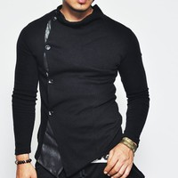 Rick Leather Trim Turtle Button Up Cardigan