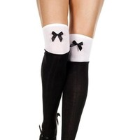 Black and White Two Tone Satin Bow Thigh High