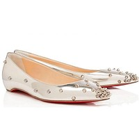 Christian Louboutin Fashion Edgy Rivets Pointed Flats Shoes