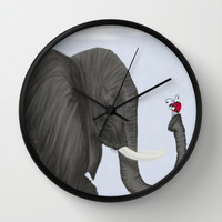 Bertha The Elephant And Her Visitor Wall Clock by One Artsy Momma