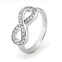 TIONEER Sterling Silver Channel Set Infinity Symbol Ring, Size 4