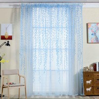 Tulle Room Window Curtains Sheer Panel Drapes Curtain Leaves Print Translucidus Bedroom Home Textile Window Treatments 2017