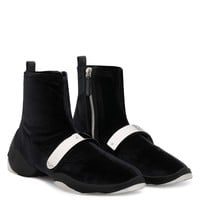 Giuseppe Zanotti Gz Light Jump Ht2 Black Stretch Velvet High Top Sneaker With Silver Metal Plate