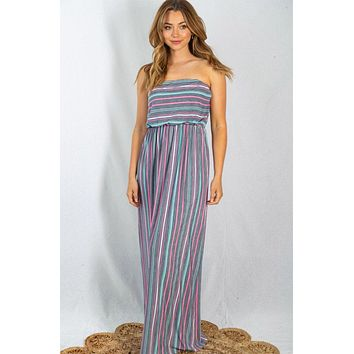 Sunny Resort Grey And Multi Striped Strapless Maxi Dress