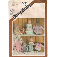 Simplicity 5615 Pattern for 13-14 In. Doll Clothes, Tiny Tears, 1982, Dress, Bootees, Hat, Romper, Kimono, Vintage Pattern, Home Sewing