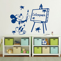 Wall Decal Name Vinyl Sticker Decals Mickey Mouse Home Decor Design Mural Disney Personalized Custom Baby Name Mice Ears Baby Decor AN682
