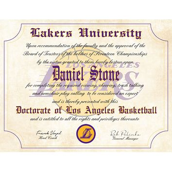 "L. A. Lakers Ultimate Basketball Fan Personalized Diploma - 8.5"" x 11"" Parchment Paper"
