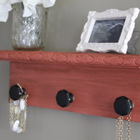 Decorative wall shelf, key holder for wall, pink coral decor, antique, distressed, cottage, shabby chic, home decor