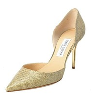 Jimmy Choo Women's Gold Glitter Pointy Toe High Heels Pumps Shoes