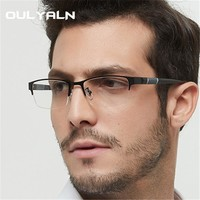 Oulylan Men Business Reading Glasses Fashion Metal Half Frame Glasses for Read Male Retro Eyeglasses Diopter 1.0 1.5 2.0 2.5