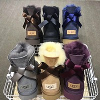 UGG classic hot-selling mid-tube bow snow boots men and women boots shoes
