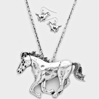 "18"" silver 3"" horse western cowboy cowgirl pendant necklace .75"" earrings"