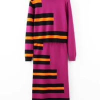 Pink Color Block 2-Piece Knitted Set Shirt + Midi Skirt