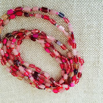 Necklace, Cotton Candy Gorgeous, Ultra Long 30 Inch Necklace with Glass Cube Beads. Hand cut & hand made. Wrap Bracelet or Double Strand Necklace.  Assorted colors available.