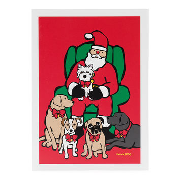 Santa in Chair with Dogs Holiday Cards