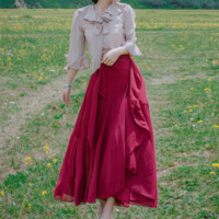 Elegant Bowknot Apricot Shirt / Red Skirt Set SP178990