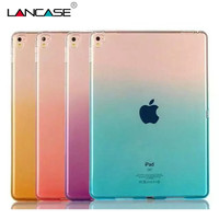 For iPad Pro Case 9.7 Dual Color Gradient Soft TPU Gel Case For iPad Pro 9.7 Case Clear Transparent Protective Tablet Case Cover