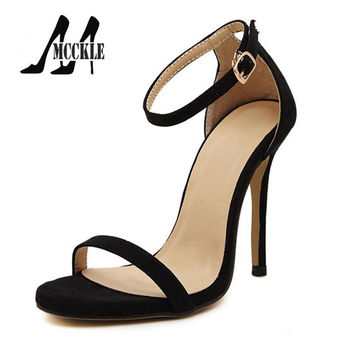 2016 New Hot Summer Sandals Women Shoes High-Heeled Ankle Strap PU+Suede Party Shoes Woman 5 Colors Size 35-40 Z1265