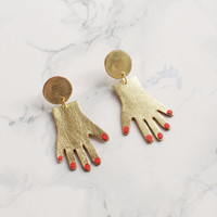 Tiny Goldtone Hands Dangle Earrings