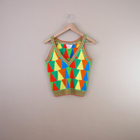 Vintage 70s Rainbow Sweater Tank - Novelty Print Tank Top Rainbow Top Rainbow Knit Tank Crop Tank Crop Top 70s Clothing V Neck Tank Top