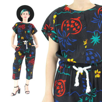 80s Tropical Print Jumpsuit Pineapple Print Cropped Pant Suit Black Cotton Jumpsuit Rope Drawstring Waist Short Sleeve Festival Onesuit (S/M)