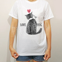 Love Cat TShirts Meow Shirts I like Cats Shirts Heart Shirts Love Hug Shirts White Shirts Men TShirts Unisex TShirts Women TShirts -S M L XL