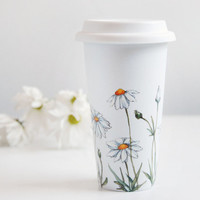 Hand Painted White Ceramic Travel Mug Double Walled Porcelain with Lid - Daisies, Botanical Collection - made to order