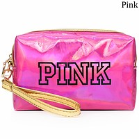 Victoria's Secret 2018 new women's fashion laser reflective small square bag F0695-1 Pink