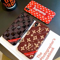 LV & Supreme Stereo Necklace IPHONE X Mobile Shell