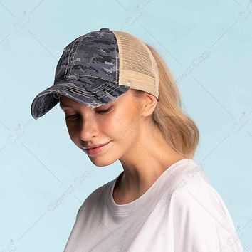 C.C Digi Camouflage Mesh High Ponytail Cap - Messy Bun Pony Cap- High Ponytail Ball Cap- Olive, Grey, Blue, Beige
